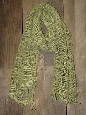 Thai Handwoven Cotton Open Weave Scarf - Pale Olive -
