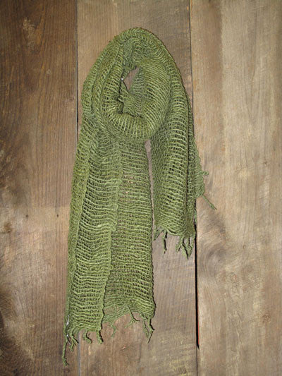 Thai Handwoven Cotton Open Weave Scarf - Sage -