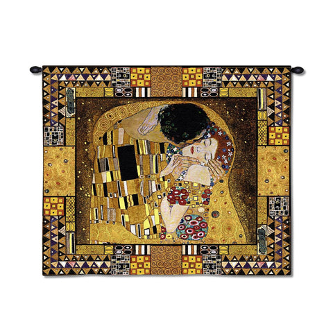 Gustav Klimt© The Kiss Captured Wall Tapestry w/Gold Lurex