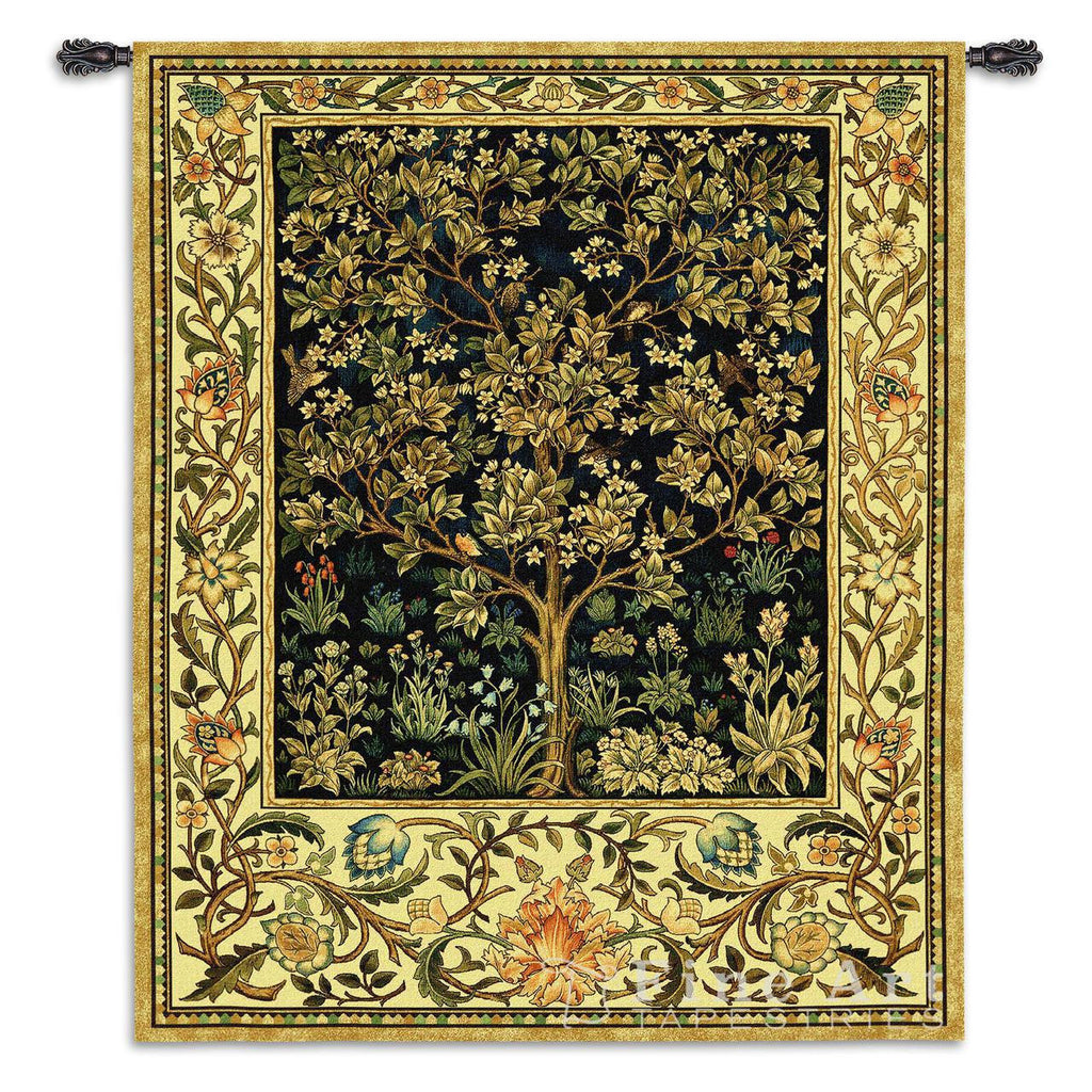 William Morris© Tree of Life Wall Tapestry Midnight Blue|2 Sizes -