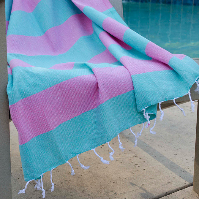 Clotho Turkish Cotton Towel - Pink Green