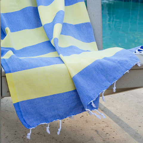 Clotho Turkish Cotton Towel - Yellow Blue