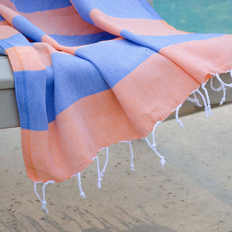 Clotho Turkish Cotton Towel - Orange Blue
