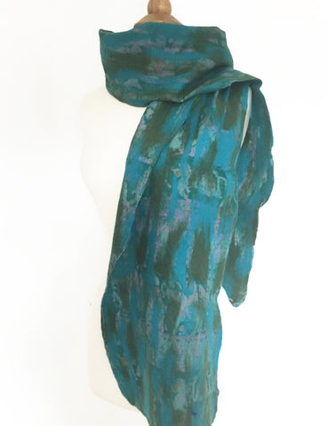Turquoise-Green Nuno Felted Merino Wool-Silk Sari Scarf|One-of-a-Kind Wearable Art