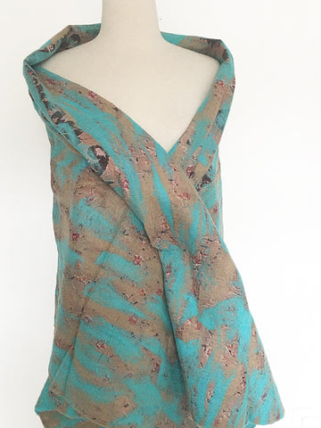 "Turquoise-Sand Nuno Felted Wool-Sari Silk ""Shawl-Stole""