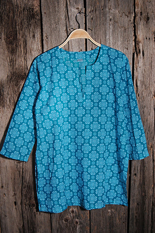 Kurti Cotton Tunic - Turquoise/White