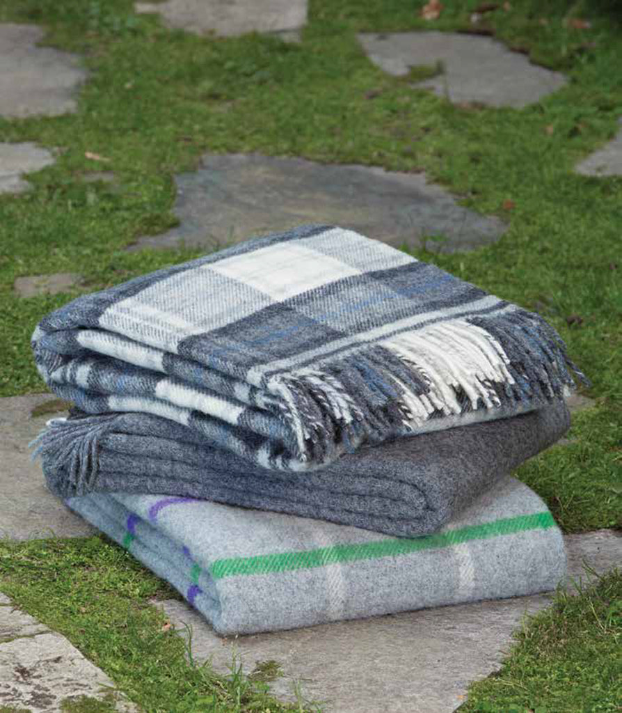 Tweedmill British Made 100% Wool Blanket-Gray Purple Green- Wales