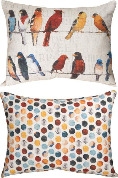 Usual Suspects Indoor/Outdoor Reversible Pillow by Avery Tillmon© - Birds Motif -