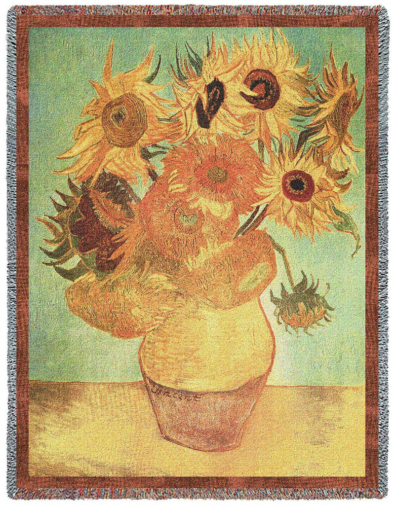 Van Gogh© Sunflowers Woven Throw Blanket -