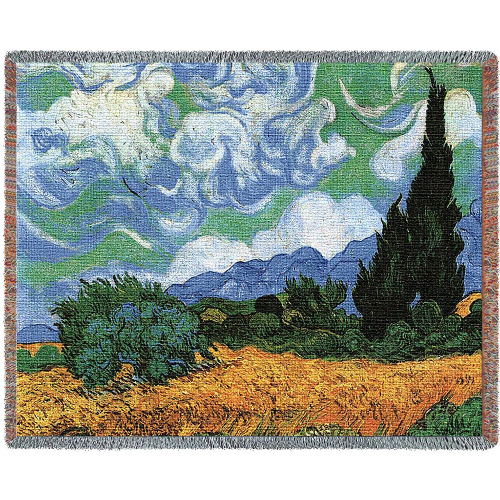 Van Gogh© Wheat Field w/Cypress Woven Throw Blanket -