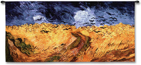 Wheat Fields© With Crows Wall Tapestry -