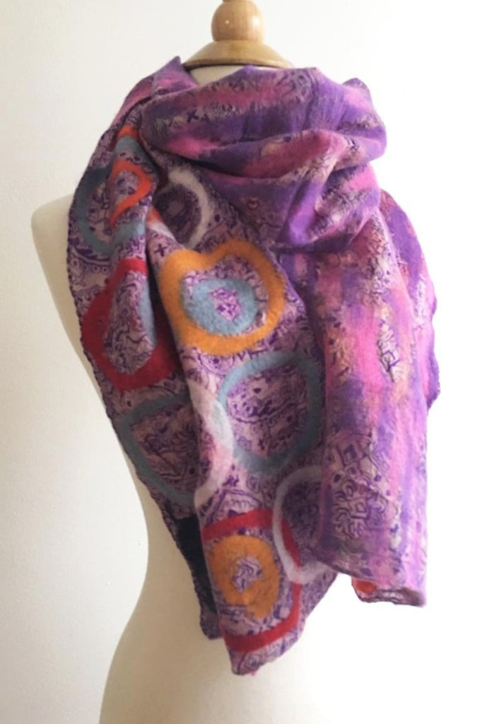Violet Purple Circle Scarf One-of-a-Kind Wearable Art