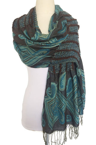 Woven Reversible Ruffled Scarf/Shawl - Peacock