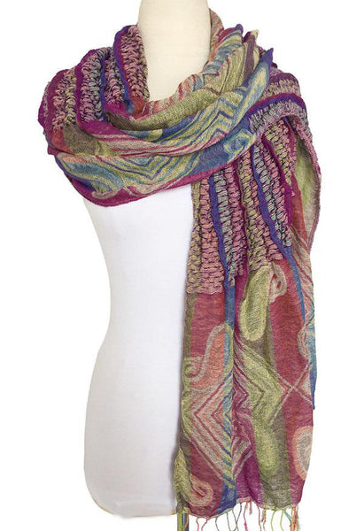 Woven Reversible Ruffled Scarf/Wrap - Juicy Fruit