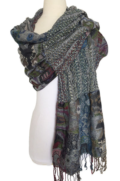 Woven Reversible Ruffled Scarf/Shawl - Native Pine