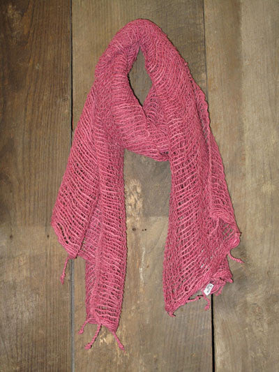 Thai Handwoven Cotton Open Weave Scarf - Wild Rose -
