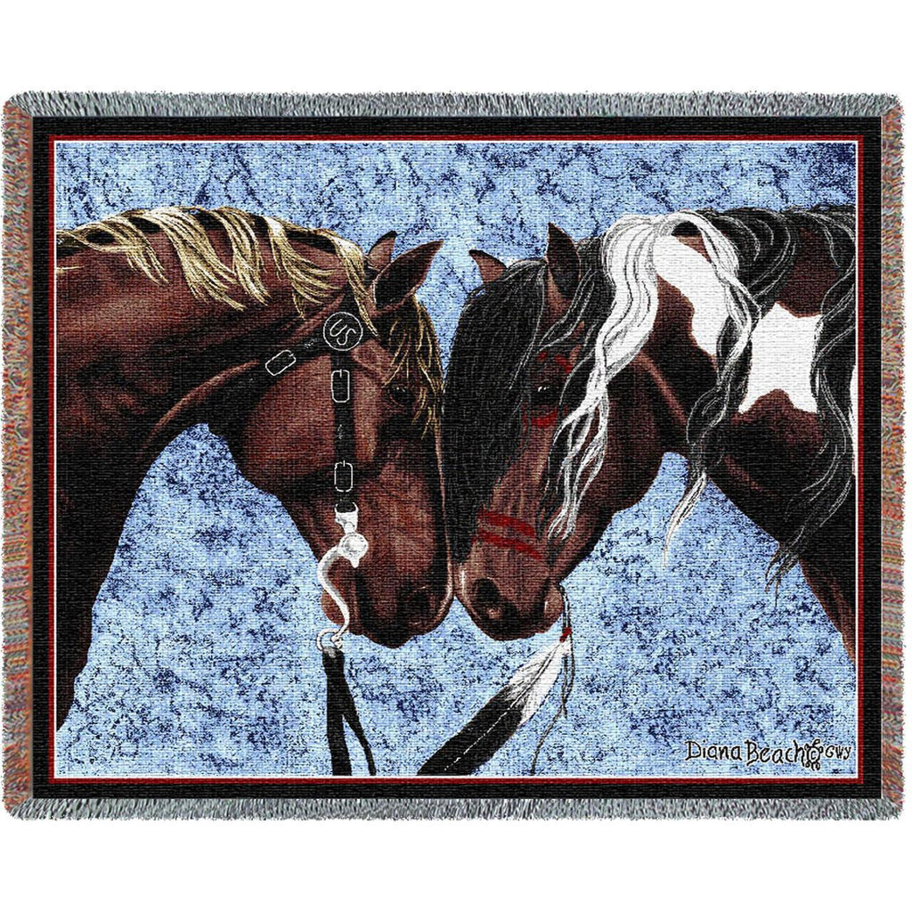 Warrior Truce Woven Throw Blanket by Diana Beach© -