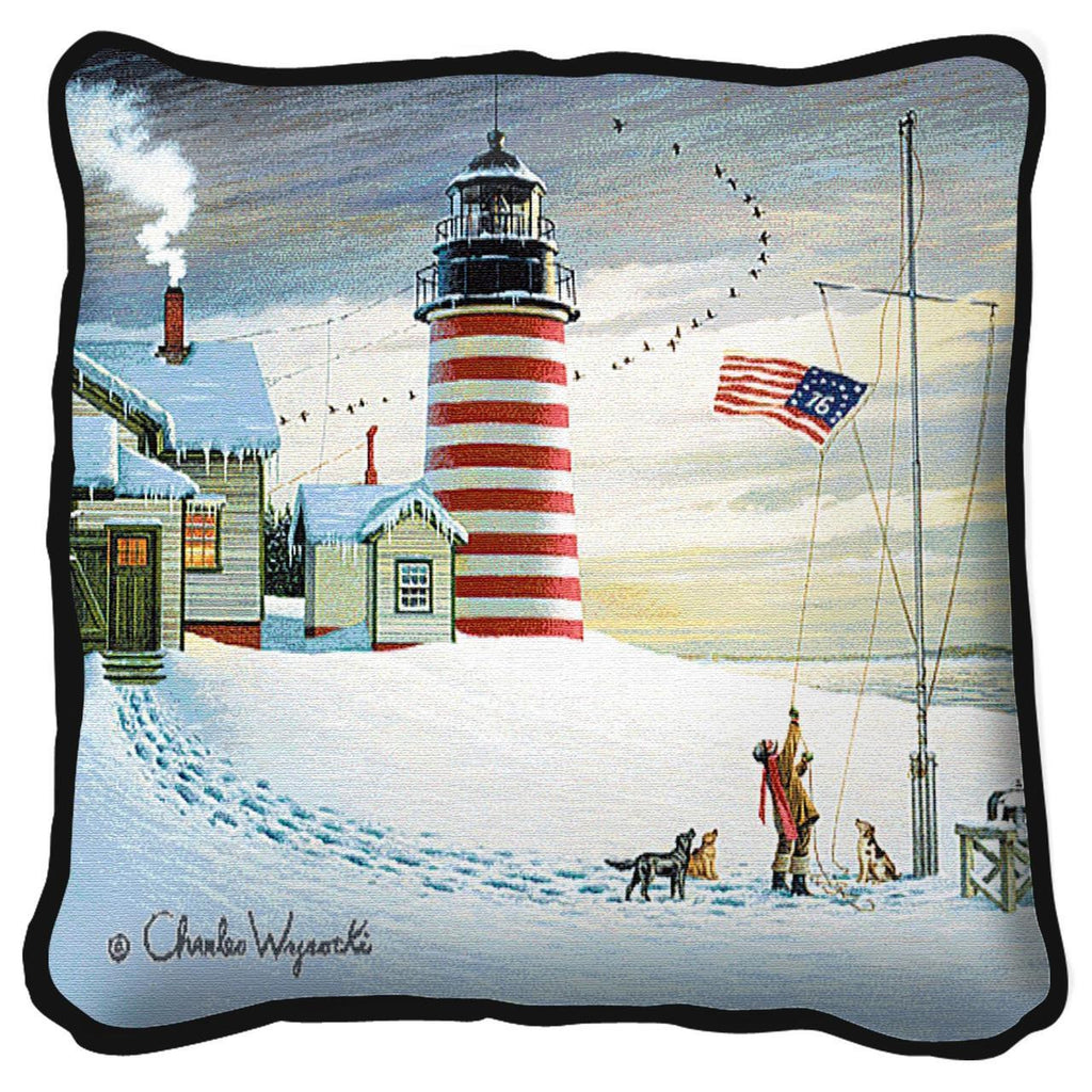 West Quoddy Lighthouse Tapestry Pillow by Charles Wysocki©
