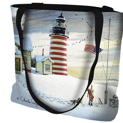West Quoddy Lighthouse Tapestry Tote by Charles Wysocki©