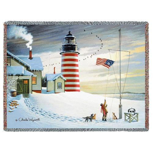West Quoddy Lighthouse Woven Throw Blanket by Charles Wysocki©