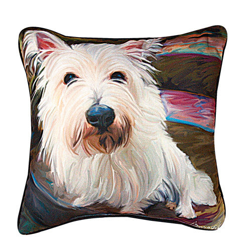 Little Westie Pillow by Robert McClintock -