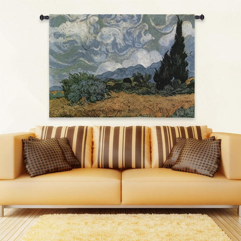 Van Goght© Wheat Fields With Crypress Wall Tapestry -   - 1