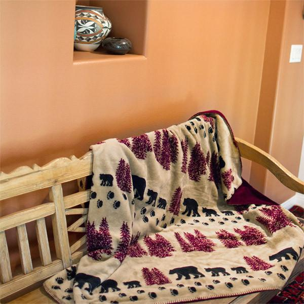 Denali Microplush™ Rustic Lodge Throw - Wheat Denali Bear