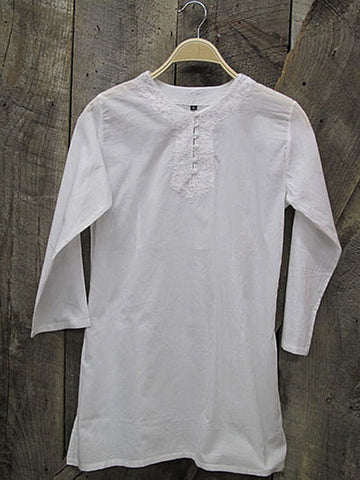 White Tobago Cotton Kurti Tunic - White w/Embroidery
