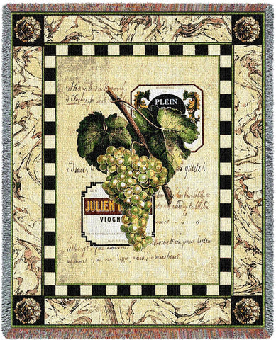 White Grapes and Label Woven Throw Blanket