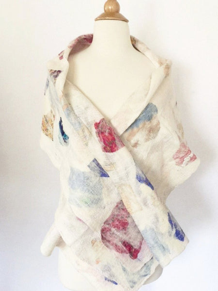 "Winter White Nuno Felted Merino Wool-Sari Silk ""Wrap-Stole"" - One-of-a-Kind Wearable Art"