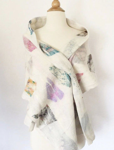 "Winter White Nuno Felted Merino Wool-Sari Silk ""Stole"" - One-of-a-Kind Wearable Art"