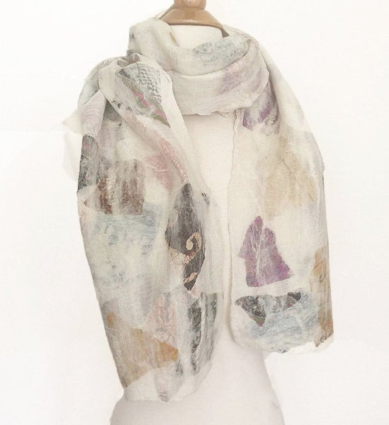 Winter White Felted Wool-Silk Collage Scarf - One-of-a-Kind -   - 1