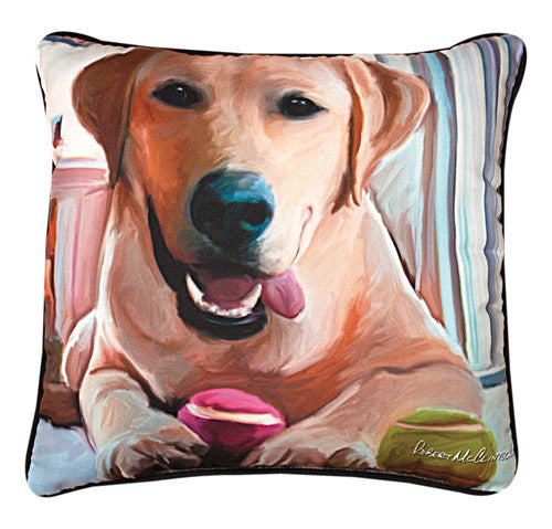 Tennis Anyone Yellow Lab Pillow by Robert McClintock -