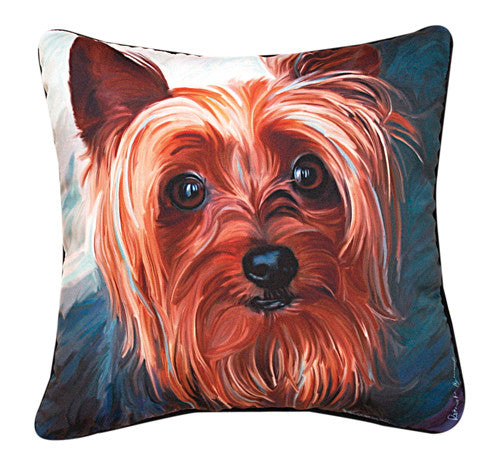 Yorkie Style Pillow by Robert McClintock -