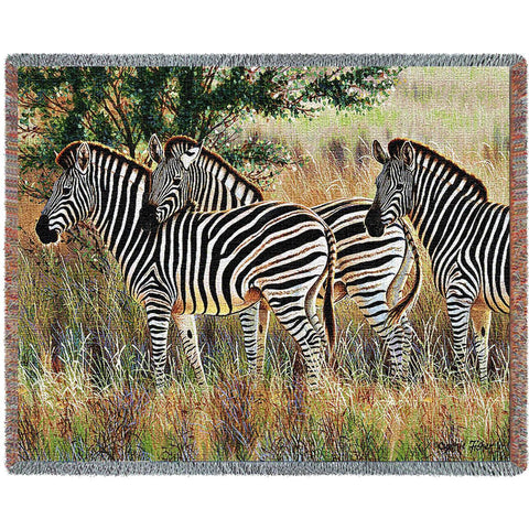 Three Zebra Group Throw Blanket by Cynthie Fisher© -