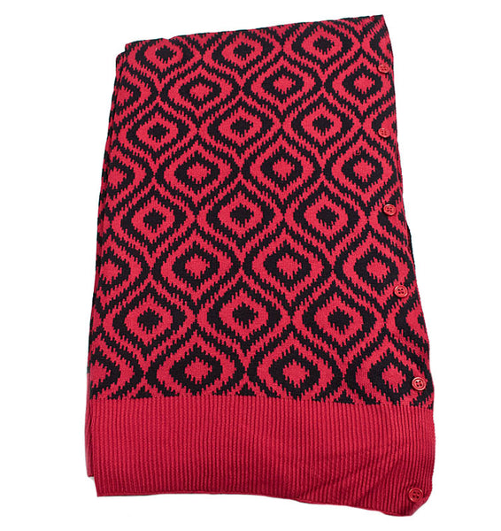 Bamboo Garnet and Black Ikat Scarf-Shawl-Cardigan 3 in 1 by Papillon -   - 2