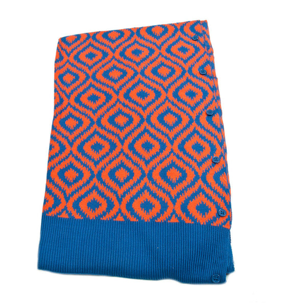 Bamboo Blue and Orange Ikat Scarf-Shawl-Cardigan 3 in 1 by Papillon -   - 2