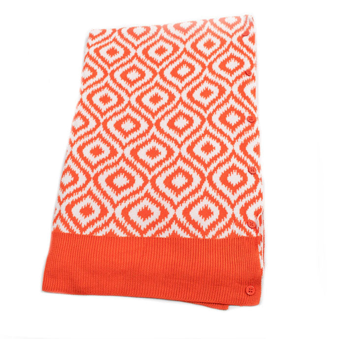 Bamboo Orange and White Ikat Scarf-Shawl-Cardigan 3 in 1 by Papillon -   - 1