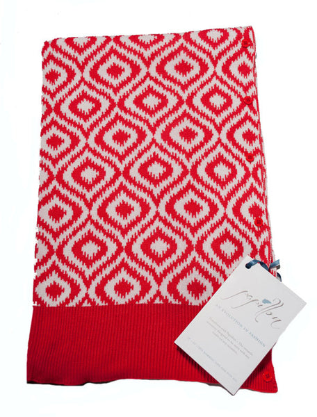 Bamboo Red and White Ikat Scarf-Shawl-Cardigan 3 in 1 by Papillon -   - 2