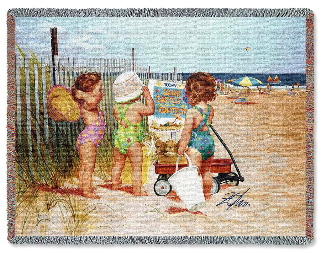 Beach Babies Woven Blanket by Donald Zolan©