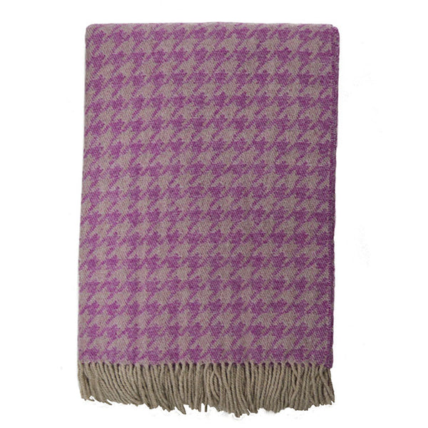 Italian Merino Lambswool Houndstooth Throw - Italy