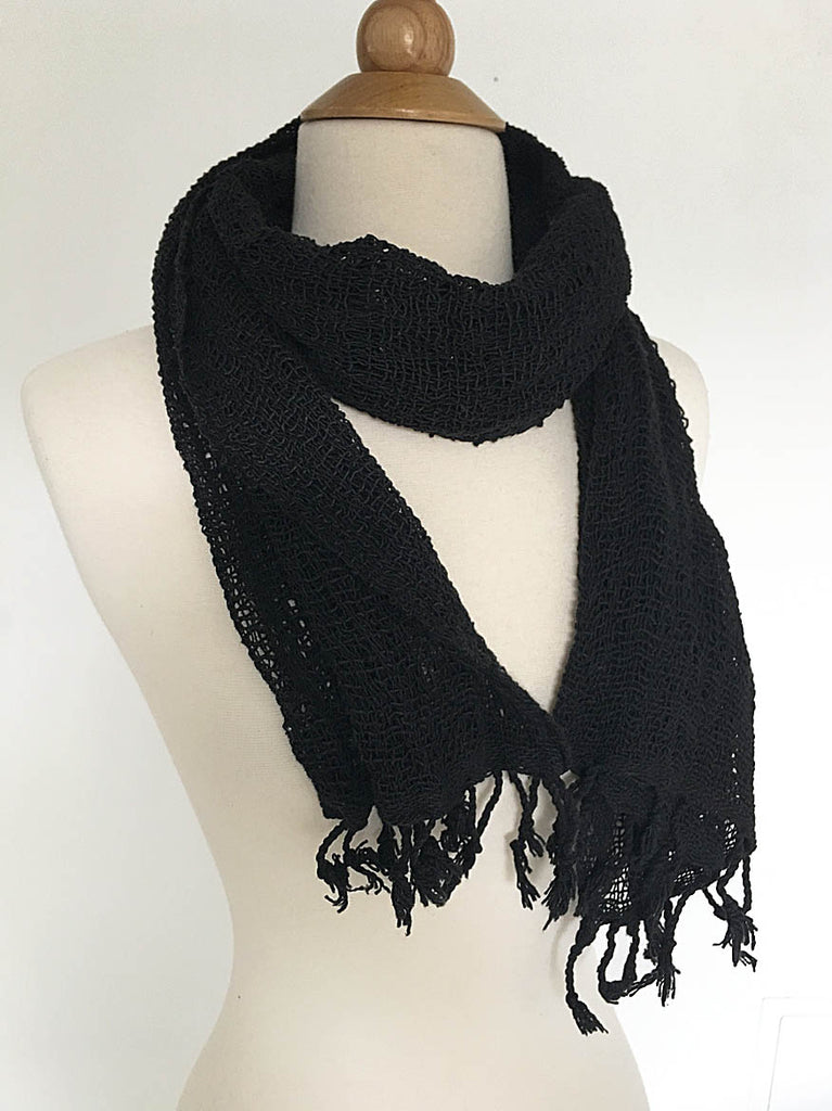 Handwoven Open Weave Cotton Scarf - Black