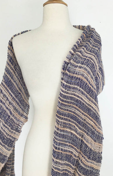 Handwoven Open Weave Cotton Scarf - Multi Blue/Ivory/Tan
