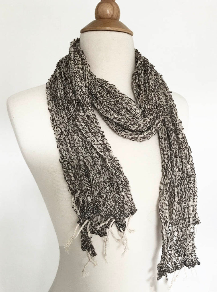 Handwoven Open Weave Cotton Scarf - Charcoal/Ivory Multicolor