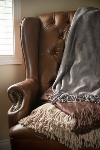 Chocolate Haute Bamboo/Cotton Throw w/Fringe -   - 3