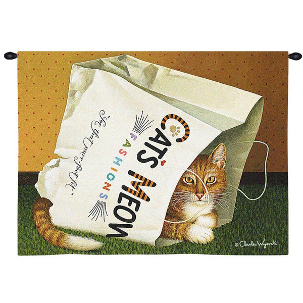 Charles Wysocki© Cat's In Bag Totes Throws Pillows Wall Tapestry
