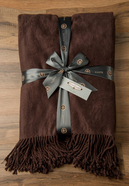 Chocolate Haute Bamboo/Cotton Throw w/Fringe -   - 1