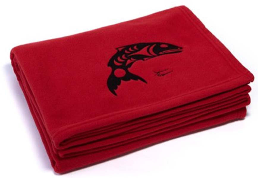 "Debra Sparrow© ""Salmon"" Embroideredd on Red Fleece Throw Blanket"