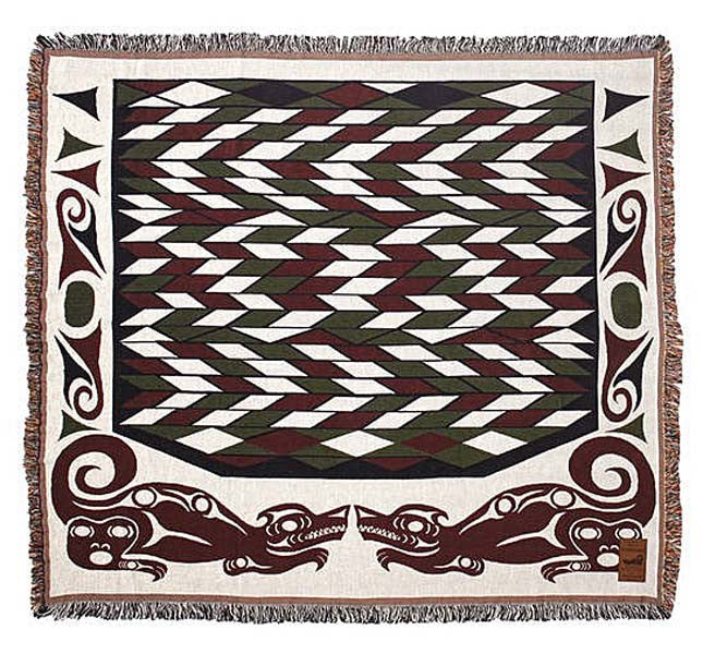 Debra Sparrow© Takaya (Wolf) NW Native Woven Cotton Throw Blanket