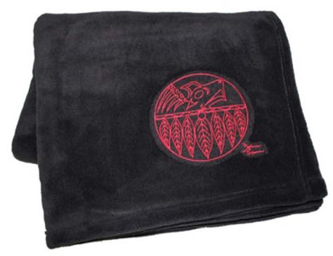 Debra Sparrow© Thunderbird Embroidered on Black Plush Velura™ Throw Blanket
